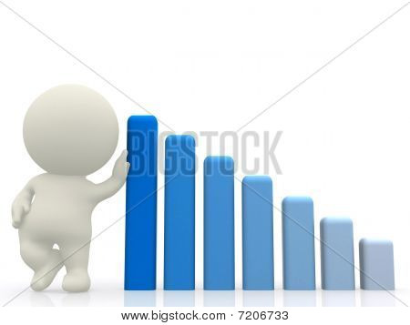 3D Man With Hand On Graph Gradient