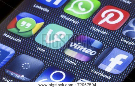 Belgrade - July 05, 2014 Popular Social Media Icons Vimeo Vine And Other On Smart Phone Screen Close
