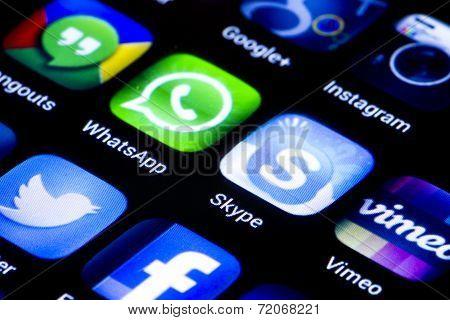 Belgrade - June 23, 2014 Popular Social Media Icons Whatsapp Skype And Other On Smart Phone Screen C