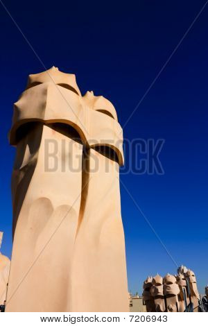 Symbol Of Barcelona. Chimneys, Gaudi
