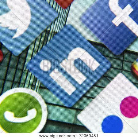 Belgrade - March 11, 2014: Social Media Icon Linkedin On Smart Phone Screen