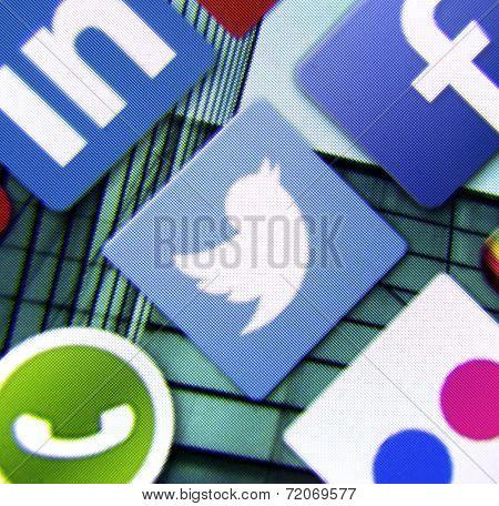 Belgrade - March 11, 2014: Social Media Icon Twitter On Smart Phone Screen