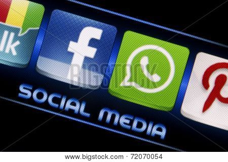 Belgrade - September 09, 2014 Social Media Icons Facebook And Whatsapp On Smart Phone Screen Close U