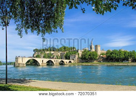 Avignon's Bridge And The Popes Palace