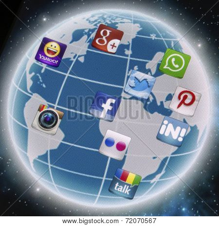 Belgrade - September 09, 2014 Social Media Icons Facebook, Twitter, Whatsapp And Other On Smart Phon