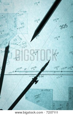 Blue Backlit Surveyor's Plan, Circle And Pencil