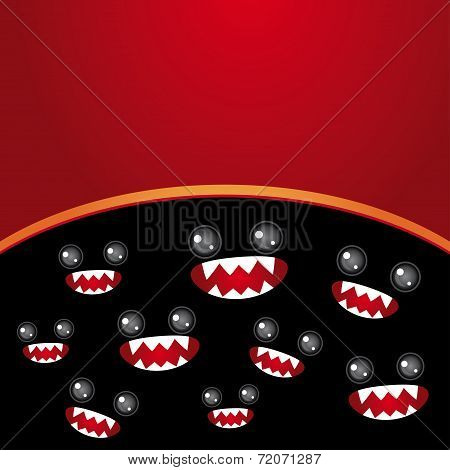 Party card. Monsters eyes and toothy mouth on black and burgundy