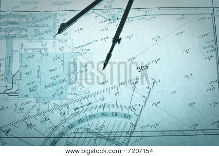 Blue Backlit Surveyor's Plan, Circle And Set Square