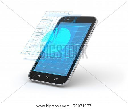 Mobile Phone And Holographic Charts And Diagrams.