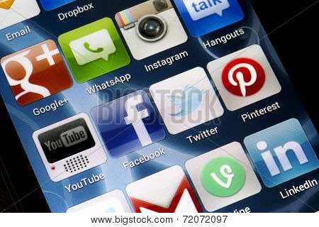 Belgrade - June 17, 2014 Popular Social Media Icons On Smart Phone Screen