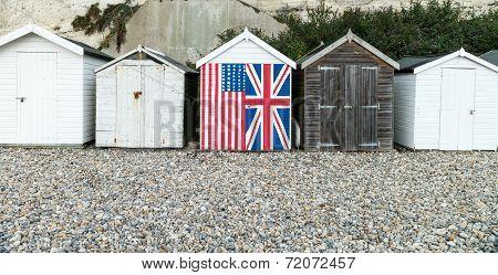 A row of beach huts