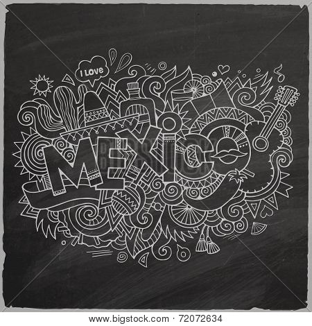 Mexico doodles elements chalkboard background