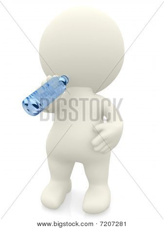 3D Man Drinking Water