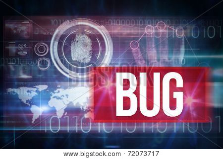 The word bug and pink technology hand print interface design against blue technology design with binary code