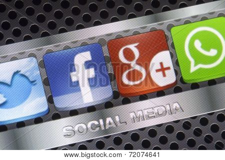 Belgrade - August 30, 2014 Social Media Icons Twitter, Whatsapp, Facebook, And Google Plus On Smart