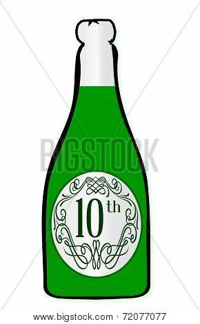 10Th Celebration Wine Bottle