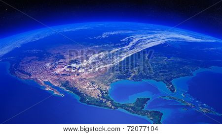 North America seen from space (Texture maps courtesy of NASA)