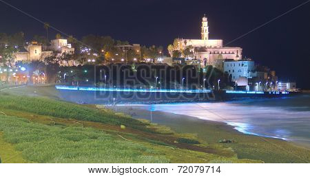 Al-barh Mosque At Night In Jaffa, Israel