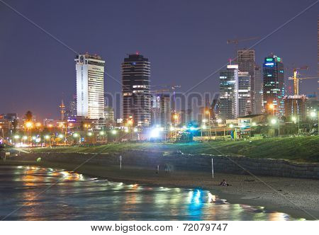 Tel Aviv Skyline / Coastline At Night