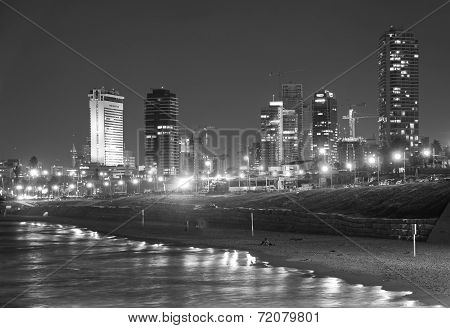 Tel Aviv Skyline / Coastline At Night