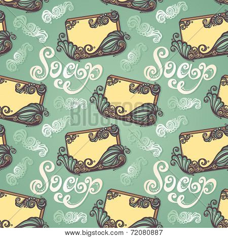 Seamless Pattern with Vintage Ornate Bar of Soap