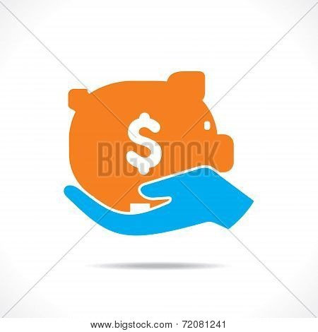 saving money concept or hold piggy bank in hand vector