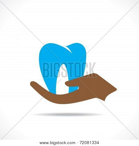 dental care or teeth hold in hand concept vector