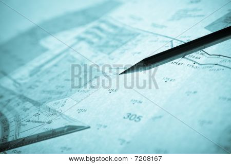 Blue Backlit Surveyor's Plan, Pencil And Set Square
