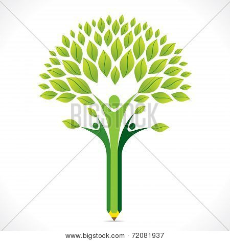 Gcreative green pencil tree design vector
