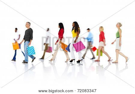 Group of Diverse People Walking with Shopping Bags