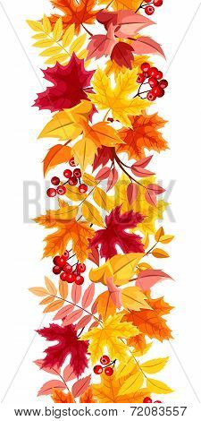 Vertical seamless background with colorful autumn leaves. Vector illustration.