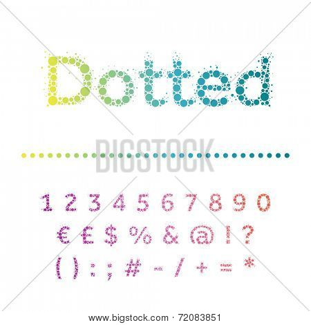 Vector dotted font. Bright modern multicircles type. Numbers, special symbols and punctuation marks.