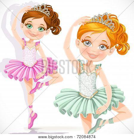 ballerina girl in pink and green tutu