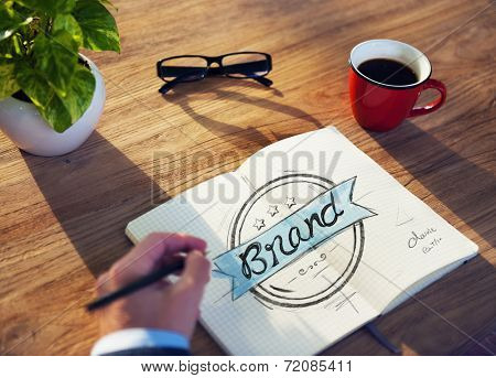 Man with a Notepaper with Brand Concept