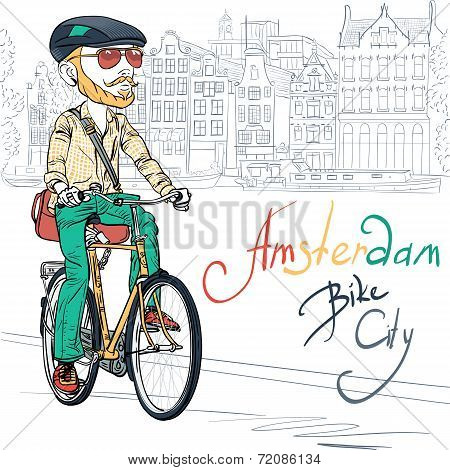 Vector Trendy Hipster Bearded Guy On A Bike