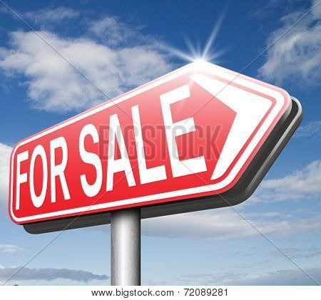 For sale road sign, selling a house apartment or other real estate label. Buy online at internet web shop