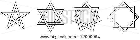 Geometric Star Figures Outline