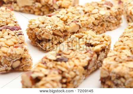 Several Granola Bars Isolated On White