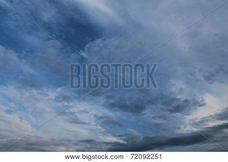 Clouds, blue sky, bright Sun