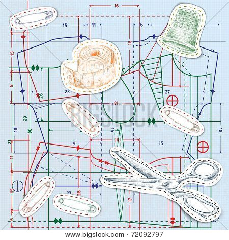 Sewing sketch seamless pattern