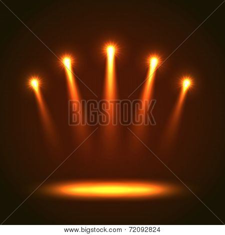 Vector Background With Five Bright Spotlights