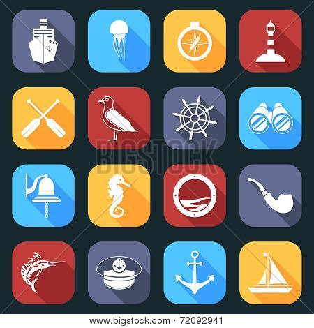 Nautical Icons Set Flat
