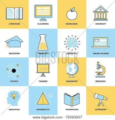 Education Flat Line Icons