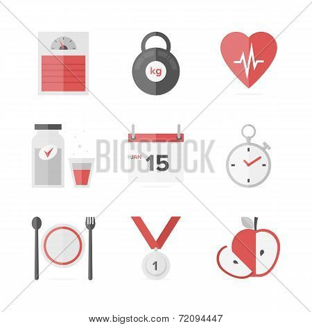 Dieting And Weight Loss Flat Icons Set
