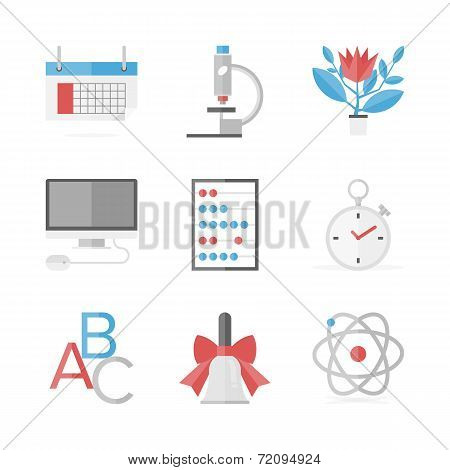 Educational Items Flat Icons Set