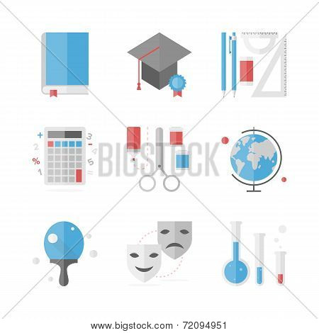 School Education Flat Icons Set
