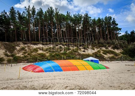 Trampoline on the beach