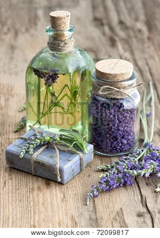 Lavender Oil, Herbal Soap And Bath Salt With Flowers