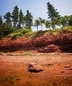 Red beach and cliffs of Prince Edward Island Atlantic coast near Cavendish, PEI, Canada. poster