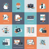 Set of flat design concept icons for web and graphic design development poster